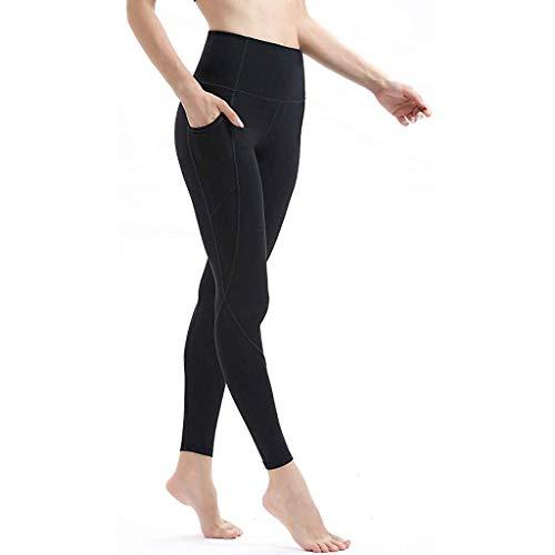 KIMODO® Damen Hohe Taille Leggings Hose Sieben Punkte-Yoga Laufende Athletic Jogging Sporthosen Fitness Skinny Freizeithose