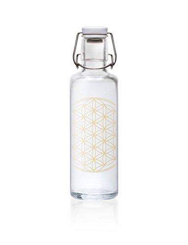 Trinkflasche aus Glas - Blume des Lebens