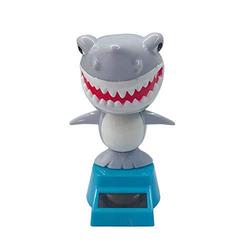shyymaoyi - Adorable muñeco de tiburón de Dibujos Animados, Modelo de muñeca Solar, Columpio para Coche, decoración Interior para el hogar, Oficina, decoración de Regalo, plástico abs, Gris