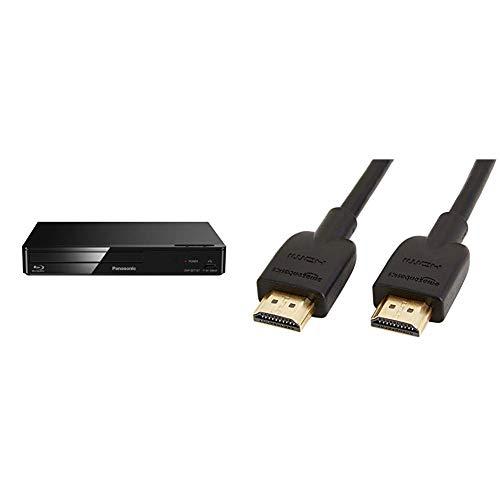 Panasonic DMP-BDT167EG Kompakter 3D Blu-ray Player (Full HD Upscaling, Internet Apps, LAN-Anschluss, USB, MKV-Playback) schwarz & AmazonBasics Hochgeschwindigkeits-HDMI-Kabel, CL3-zertifiziert