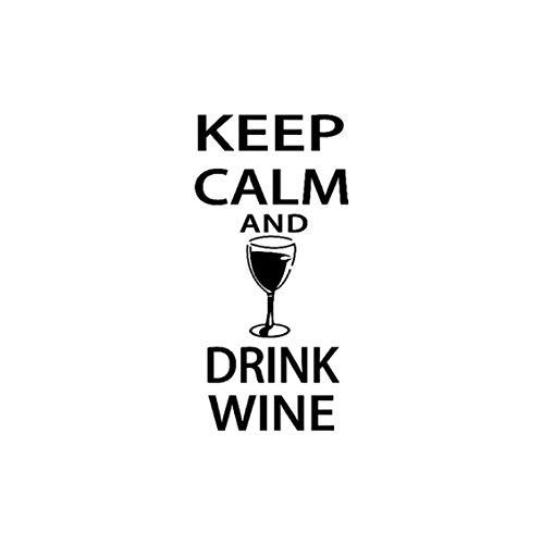 tattoo-Ruhe bewahren und Wein trinken-Lustige Bar Pub Wandtattoo 60 * 28cm ()