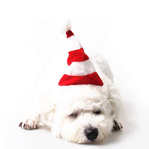 KERVINZHANG Haustier-Weihnachtskostüm-Zubehör-Weihnachtshut-Kappe für Hund und Katze (Color : Red and White hat, Size : Free Size)