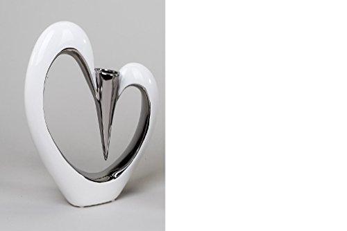Vase décoratif Cœur Cœur Vase en grès, blanc/argenté, 37cm, cadeau idéal pour la fête des mères