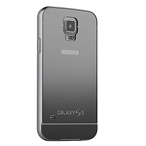 Mirror Design Case for Samsung Galaxy S4 i9500,Yihya Premium Luxury 2 in 1 Anti-scratch PC Hard Back Case Cover & Aluminum Metal Frame Bumper Full Protective Shell--Black