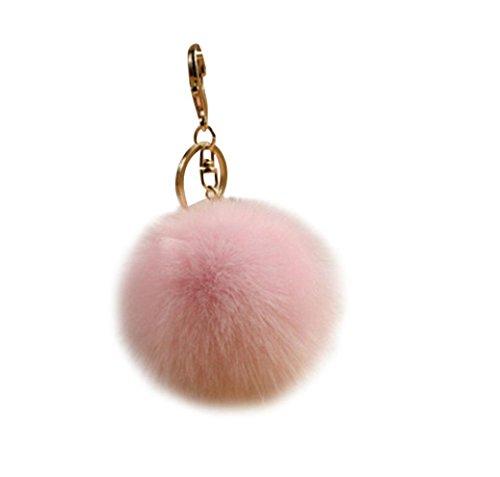 Koly_Pelliccia del coniglio sfera Portachiavi Bag Plush Car Key pendente dell'anello chiave auto