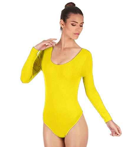 e840a711a Maillot de Danza Ballet Gimnasia Leotardo Body Clásico Elástico para Mujer  de Manga Larga Cuello Redondo (L, Amarillo)