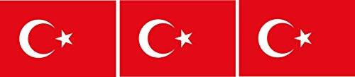 Etaia 2,5x4 cm - 3X Mini Aufkleber Fahne/Flagge der Türkei Sticker Auto Fahrrad Motorrad Bike Europa Länder auch für Dampfer E-Zigarette Sisha
