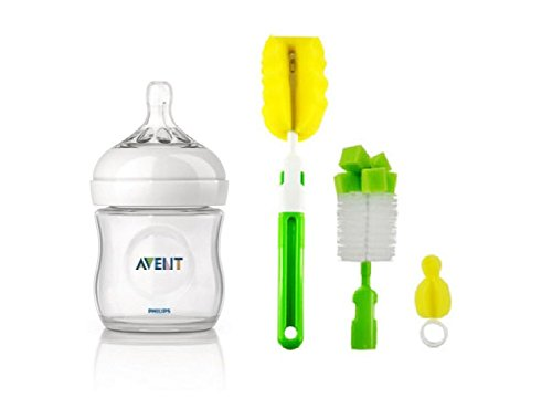 Philips Avent Natural Feeding Bottle (Clear) With Bottle And Teat Brush (125ml)