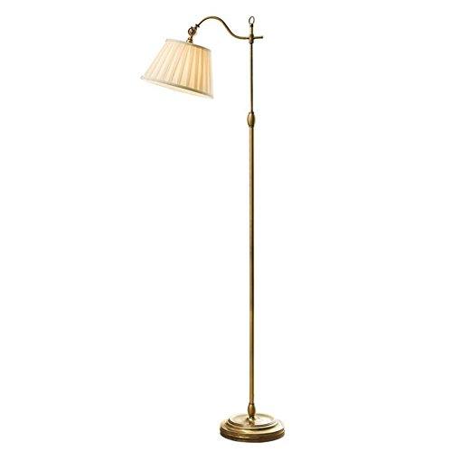 Glas 3-licht-arc (KDLD Stehleuchten ® Stehlampe Antike Messing Stehleuchte Modern American Village Standing Leselicht Lampe mit verstellbaren Winkel Seide Stoff Lampenschirm und Fußschalter für Schlafzimmer Wohnzimmer)