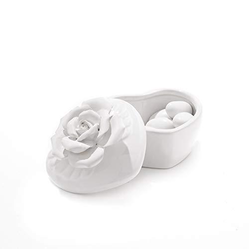 Scatola forma cuore in materiale ceramica-portaconfetti bomboniere fiore elegante regalo tavolo matrimonio (bianco)