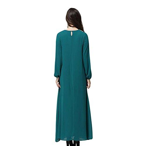 Meijunter Damen Muslim Kaftan Abaya Islam Lange Ärmel Maxikleid Arab Loose  Robe Blue ...