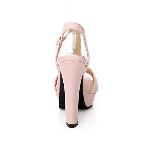 AllhqFashion Damen Rein Schnalle Fischkopf Schuhe Hoher Absatz Sandalen Mit Hohem Absatz Pink