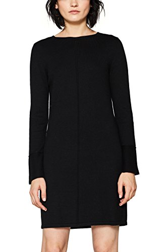 edc by ESPRIT Damen Kleid 127CC1E014, Schwarz (Black 001), Small
