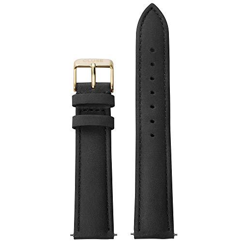 Cluse Damen Uhrenarmband Leder La Bohème Schwarz/Gold CLS021
