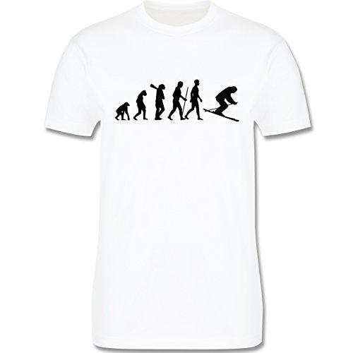 Evolution - Skiabfahrt Evolution - Herren Premium T-Shirt Weiß
