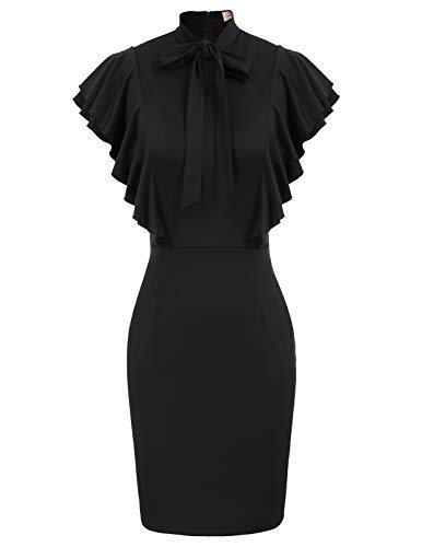 GRACE KARIN Robe Femme Moulante Noire Sexy À Volants sans Manche XL DECL0004-1