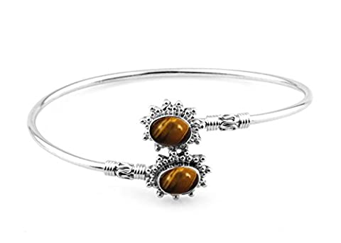 13.75gms,4.75ctw Genuine Tiger Eye & Solid .925 Sterling Silver Cuff Bangle Jewellery