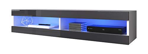 E-com - Meuble TV Armoire Tele Table Television Volant - 150 cm - Blanc/Gris + LED