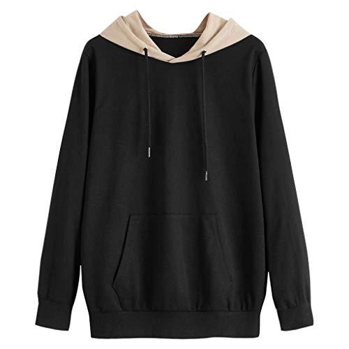 Lazzboy Pullover Frauen Langarm Tasche Patchwork Riemchen Hoodie Sweatshirt Bluse Top Damen Kapuzenpullover Ladies Hoody(Schwarz,XL)