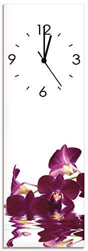 Artland Qualitätsuhren I Wanduhr Designer Uhr auf Glas Größe: 20 x 60 cm Phalaenopsis Orchidee J4IO Lila