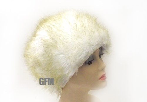 Ladies (White with Light Brown Fur) Faux Fur Russian / Cossack Hat
