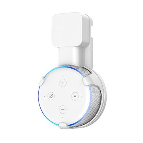 Wandhalterung für Dot (3. Generation) Halterung von Wigoo mit integriertem Kabelmanagement, Keine Schrauben notwendig, Dot 3 Zubehör - Ideal für Küche, Bad und Schlafzimmer- Weiß