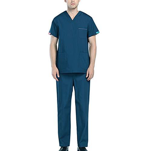 Neue Medizinische Peelings (Neue Medizinische Uniformen Männer Krankenhaus Peelings Set Kurzarm Dental Medical Kleidung mit Tasche Krankenschwester Uniform Beauty Salon Kleidung,Green,M)