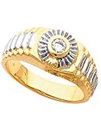 Hermoso anillo solitario de oro amarillo de 14 K para hombre viene con un regalo de joyería gratis