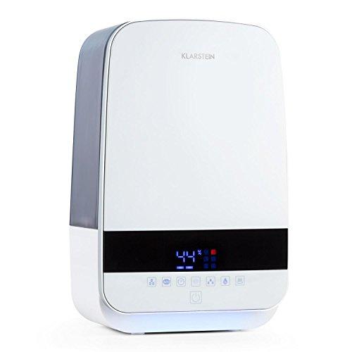 Klarstein Nibelheim • Humidificador • Vaporizador • Ionizador • Tecnología ultrasónica • Depósito de 5,6 L • Velocidad de 400 ML/h • Ambientador • Lámpara UV • Blanco
