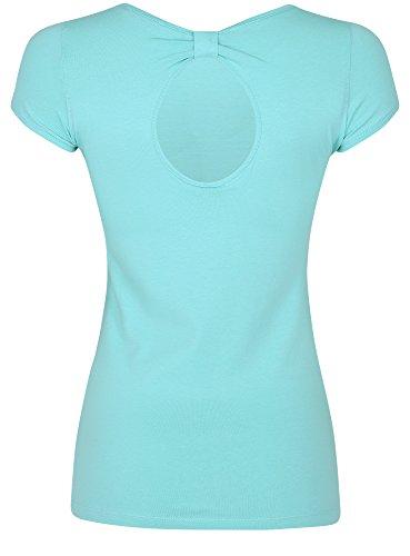 oodji Ultra Damen T-Shirt mit Schlüssellochausschnitt Am Rücken Türkis (736EP)
