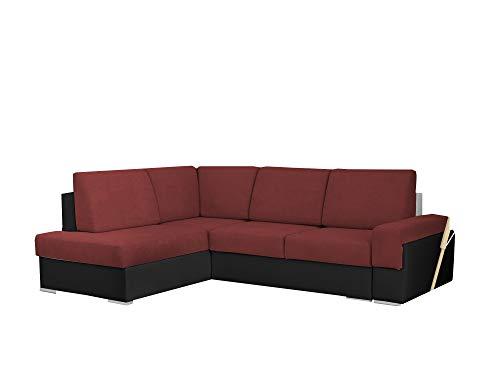 mb-moebel kleine Ecksofa Sofa Eckcouch Couch mit Schlaffunktion und Zwei Bettkasten Ottomane L-Form Wohnlandschaft Bruno II (Rot + Schwarz, Ecksofa Links)