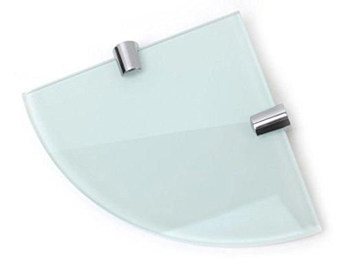 Estante de esquina de vidrio templado de 6 mm de color blanco de 150mm para baño, dormitorio o cocina