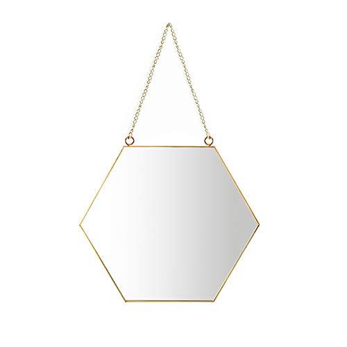 Aifusi 21x24cm Sechseck Spiegel Wandspiege, handgefertigter Badspiegel Facettenspiegel Vintage Dekoration, Messingende mit hängender Kette, Kleine Größe