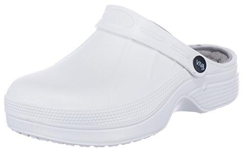 brandsseller Damen Clogs Gartenschuhe Hausschuhe gefüttert - Farbe : Weiß/Grau - Größe: 36