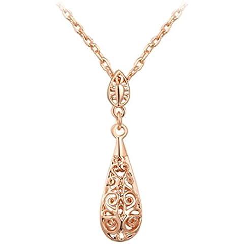 Encanto de la mujer 18ct bañado en oro rosa hollow-cut Waterdrop colgantes 45+ 5cm estirada collares