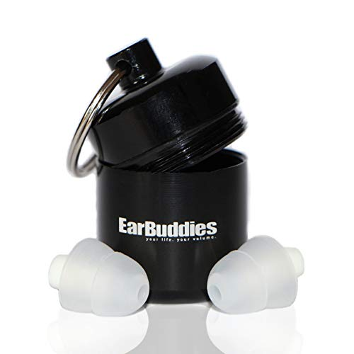 EarBuddies Gehörschutz 28dB Ohrstöpsel aus Silikon mit Alubehälter für Musik, Konzert, Festival, Disco, Reise, Flug