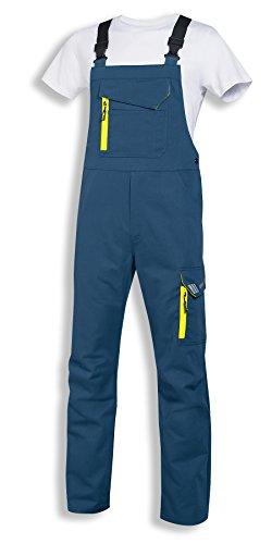 uvex Safety metal Arbeitshose | Latzhose für Herren und Damen | Unisex-Sicherheitshose mit elastischem Bund | Blau-Gelb | Größe 52/54