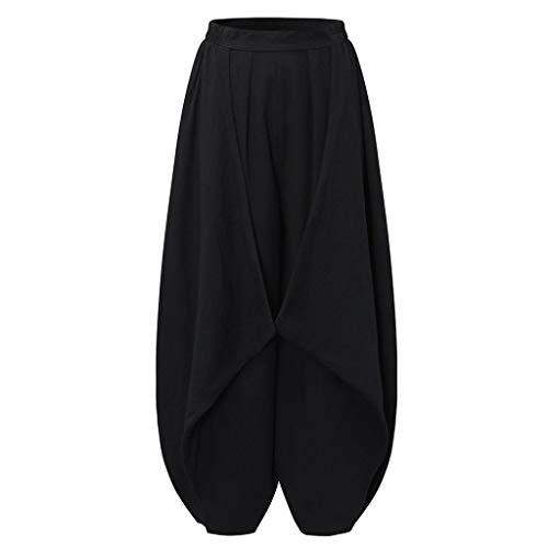 Leinen-look Tunnelzug Shorts (Damen Übergröße Pluderhosen Casual Lose Ballonhose aus Baumwolle und Leinen Einfarbig Freizeithose Yogahosen Jogginghose Haremshose WQIANGHZI)