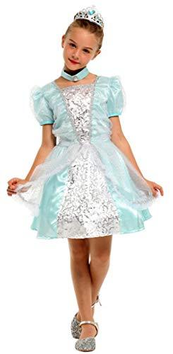 Königin Schnee Kostüm Winter - DEMU Mädchen Prinzessin Kleid Kostüm Outfit Festlich Kleider Königin Verkleidung Halloween 130-140cm (10-12 Jahre)