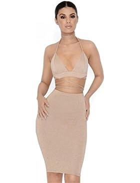 Falda para mujer, ❤️ cuello en V Party Club Bodycon Conjunto de dos piezas Faldas cortas ABsolute
