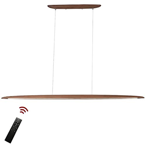 JINWELL Modern design Hängelampe LED Hängeleuchte aus Holz Pendellampe Dimmbar Pendelleuchten höhenverstellbar Kronleuchter Esszimmer Schlafzimmer Innenleuchte Dekorative Beleuchtung 130cm x 6.5 cm