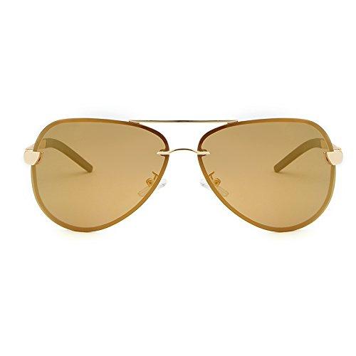 Yiph-Sunglass Sonnenbrillen Mode Modemarke Designer Sonnenbrille Semi-randlose Polarisierte Vintage Herren Sonnenbrille Spiegel Fahren Sonnenbrille Brillen Zubehör Shades (Color : Gold+Tea)