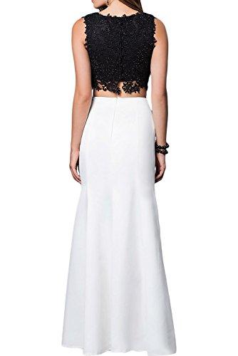 Gorgeous Bride Fashion A-Linie Rundkragen Satin Spitze Zweiteilig Abendkleider Lang Festkleider Ballkleider Style B-Orange