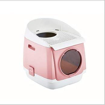 D&D Litière à Capuchon pour Chat Cat Center Toilettes Kitty intérieures et intérieures couvertes Cabine sans Porte à Double Porte Toilette entièrement fermée pour Chat Pliage Anti-éclaboussures,Pink