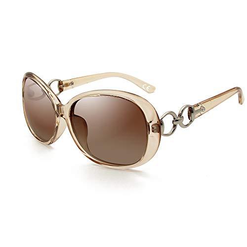 BLEVET Klassisch Groß Damen Sonnenbrille Polarisiert 100% UV-Schutz (Transparent Brown Frame Brown Lens)