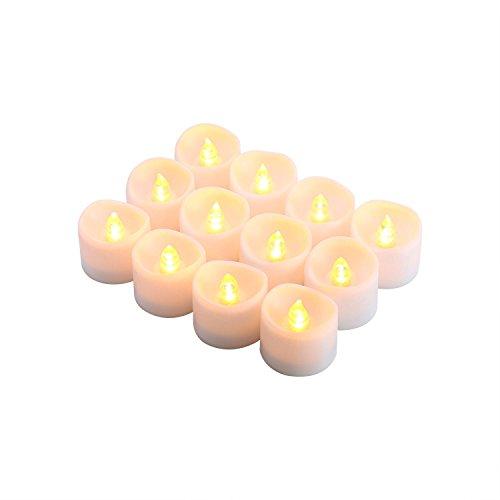 12 Stunden Elektronischer Timer (niceEshop(TM) 12 Packs Batteriebetriebene Flammenlose Kerze Flackernde LED Teelicht, Warm Gelb)