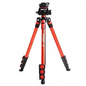 Fotopro S3 Trépied en aluminium + 1/4 Rotule Pour Camescopes DV DSLR (Rouge)