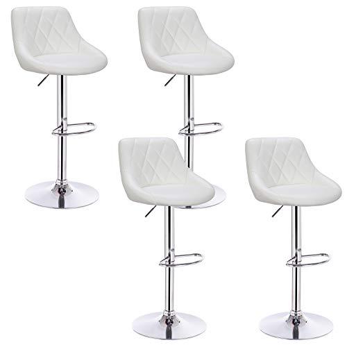 Woltu® bh23ws-4 sgabello da bar estetica moderno sedia cucina alta con schienale quadrato poggiapiedi senza braccioli similpelle cromato altezza regolabile girevole 4 pezzi bianco