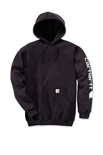 Carhartt–Felpa con cappuccio con logo maniche Workwear Negro.