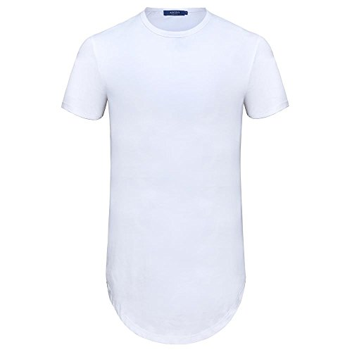 AIYINO Herren Shaped Long Tee Men's T-Shirt with Round Neck L Weiß (Saum Tee)